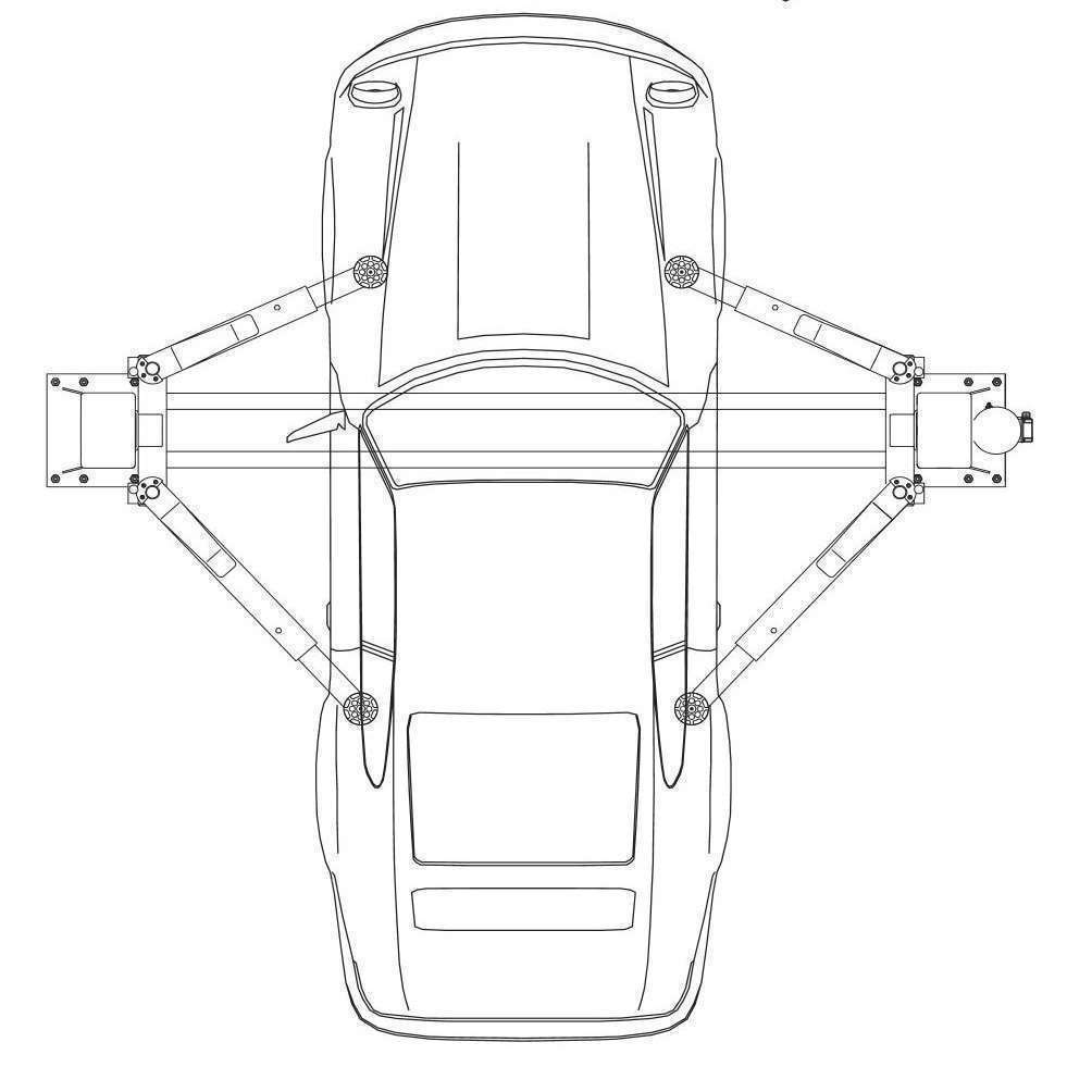 Асимметричная конструкция лап подъемника Safe 2040